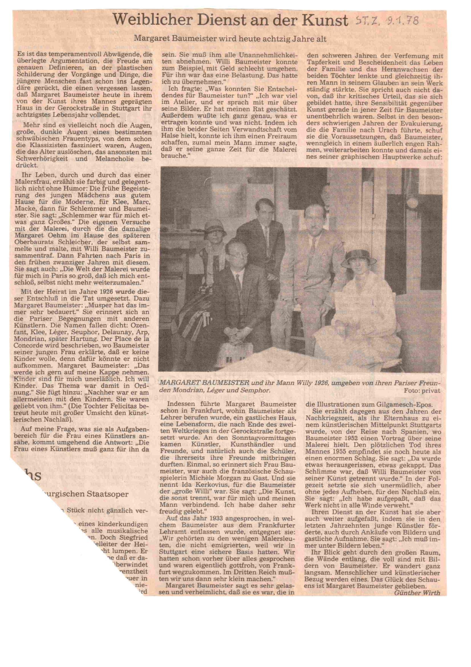 Zeitungsartikel: Weiblicher Dienst an der Kunst