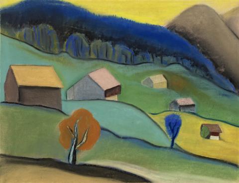Abb. 9 ohne Titel – Landschaft mit Häusern (MO-015)